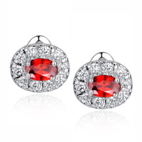 Red Oval and Round Cubic Zirconia Stud Earrings