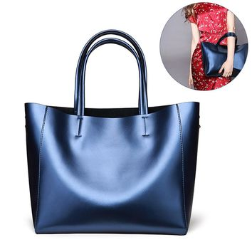 Women's Casual Handbag Large Tote Bag Exquisite Split Leather Shoulder Bag with a Small Cosmetic Bag