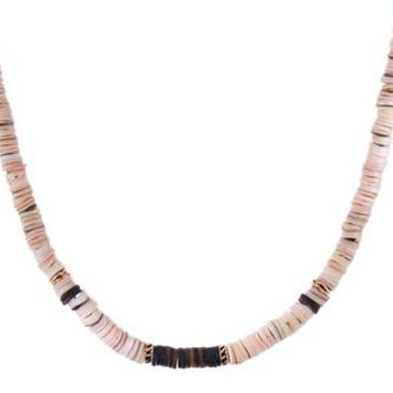 Classic Pink Puka Shell and Shark Fin Bead Necklace