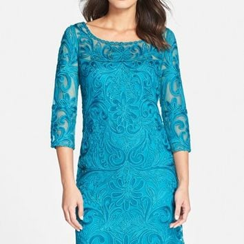 Women's Sue Wong Embroidered Illusion Yoke Mesh A-Line Dress,