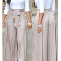 Round Neck Top and Grey Loose Pants