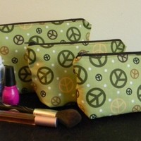 Make-up bag set - Brown and Green Peace Signs on Green | EcoLovebyBunny - Bags & Purses on ArtFire