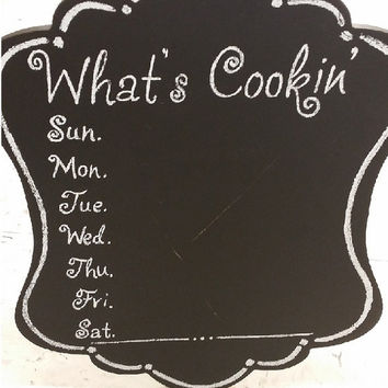 Custom Kitchen Chalkboard Sign, What's Cookin' Calender Chalkboard Sign