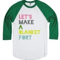 Let's Make A Blanket Fort-Unisex White/Evergreen T-Shirt