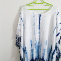 Plus size tie dye t shirt women tassel shirt/ wide neck shirt/ rayon indigo tie dye tshirt /plus size tee chest 48 inch blouse
