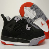 Shoes, Sneakers, & Boots - AIR JORDAN 4 RETRO '2012 RELEASE' TODDLER (BLACK/CEMENT GREY/FIRE RED) :: Baby :: The Kick Shop