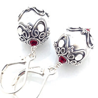 925 Silver Earring, Sterling Silver, Red Crystal, Oxidized, Ornate