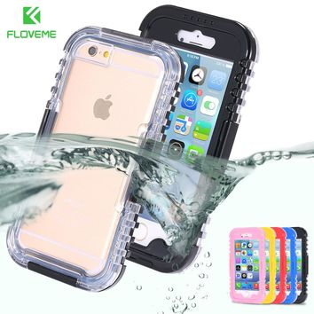 FLOVEME IP-68 Waterproof Case For iPhone 6 6S 8 7  Underwater Swimming Dive Clear Case Cover For iPhone 8 7 6 Plus