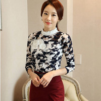 Winter new lace shirt stereoscopic pattern women's clothing blouse SCE109