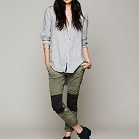 Free People Womens FP Patched Twill Herringbone Pant - Olive / Black,