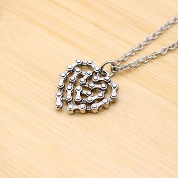 Motorcycle hinge Heart Pendant Necklace Couple Statement Love Jewelry