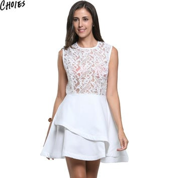 CHOIES Women White/Red/Rose pink Sheer Lace Crochet Panel Sleeveless Layered Mini Skater Dress 2016 Summer New