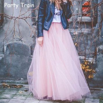 2017 Spring Fashion Womens Lace Princess Fairy Style 4 layers Voile Tulle Skirt Bouffant Puffy Fashion Skirt Long Tutu Skirts