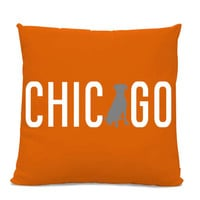 Chicago Labrador Pillow - Chicago Home Decor - Lab pillow - dog breed silhouette pillow - dog home decor - Dog Pillow - Orange Pillow