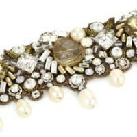 "Ranjana Khan ""Vintage Bride"" Embroidered Cuff with Pearl Dangle Bracelet - Like Love Buy"