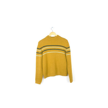 vintage 60s italian wool sweater / mustard yellow / heavy thick wool pullover