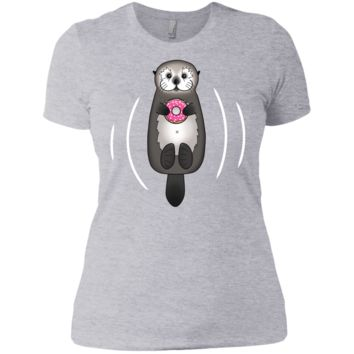 sea otter with donut - cute otter holding doughnut with little p sweatshirt T-Shirt