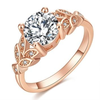 Crystal Rose Gold Leaf Cubic Zircon Ring
