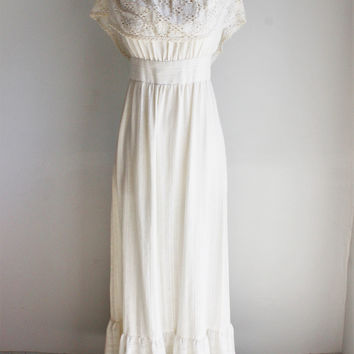 Vintage 1970s Cotton Crochet Maxi Dress