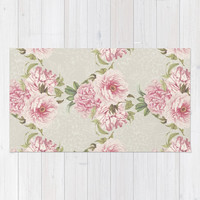 pink peony pattern Rug by sylviacookphotography