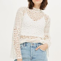 Chemical Lace Trumpet Sleeve Top - Tops - Clothing