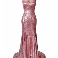 Women's Pink Sequined V Neck Mermaid Formal Prom Gown With Spaghetti Straps