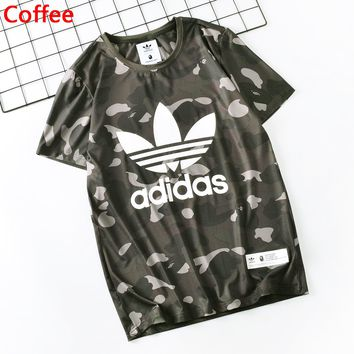 Adidas Summer Fashion New Letter Leaf Print Camouflage Women Men Sports Leisure Top T-Shirt Coffee