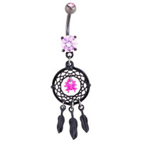 Pink & Black-Plated Spider Web Dream Catcher Dangle Belly Button Ring