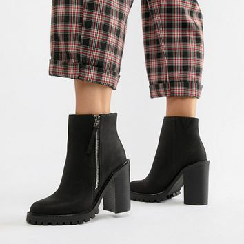ASOS DESIGN Wide Fit Brody Chunky Zip Boots at asos.com