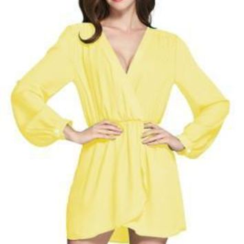 Delightful Soft Flowy Yellow Mini Dress Long Sleeves