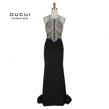 handmake Beaded Open in front Long Evening Dress Halter Cross prom dress open back Party Dress Crystal Mermaid OL102980