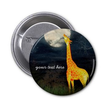 Giraffe and Moon | Custom Gifts Button Pins