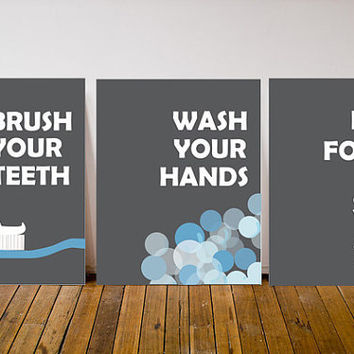 Modern Washroom Commandments Art Print 8x10 Set Of 3 Brush Your Teeth Wash Your Hands Don't Forget To Smile