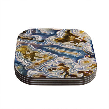 "KESS Original ""Gold And Blue Agate"" Brown Nature Coasters (Set of 4)"