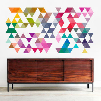 Spatial Mid Century Modern Danish Multi Colored Triangles Modern Minimalist Cube Modernist Eames Abstract