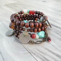 Wide Gypsy Bracelet with Wood and Tribal Metalwork, Memory Wire Coil Bracelet, Orange, Turquoise, Sage