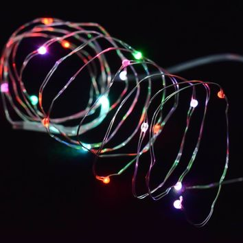 2M 20 LED Copper Wire Fairy Garland Lamp LED String Lights Christmas Wedding Home Party Decoration Battery Powered xmas Decor