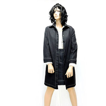 Denim duster / dress / size S / M 6 / 7 / 90s designer Peter Nygard / long jean coat and skirt / urban chic denim long jacket skirt