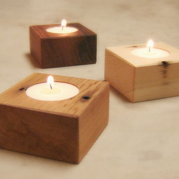 Natural Wood Tea Light Holder Candle Holder