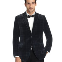 Men's Fitzgerald Fit Velvet Black Watch Tuxedo Jacket | Brooks Brothers
