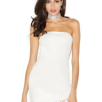 Yara White Lace Detail Strapless Stretch Crepe Dress
