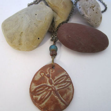 Dragonfly Necklace - Stoneware by 636designs