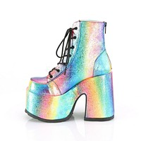 Camel 203 Stacked Rainbow Iridescent Platform Goth Punk Ankle Boot 6-12