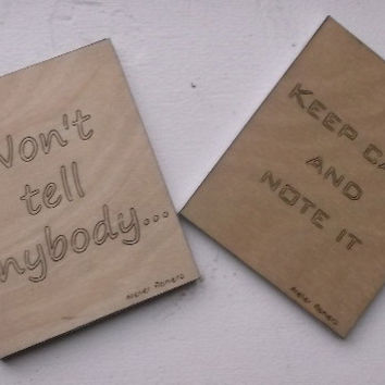 Small Ruled Notebooks with Wooden Cover, Gift Idea, Wood, Lasercut