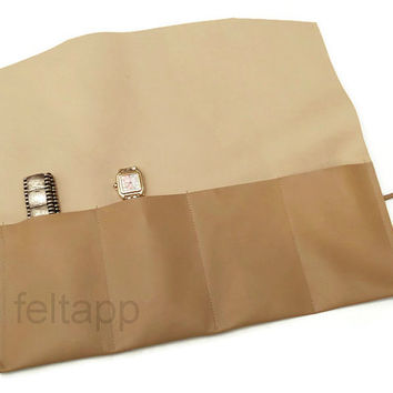 Leather Watch Roll, Tool Roll, Roll Pencil Case, Leather Pencil Case, 4 Slots,  Italian Camel Nappa Leather.
