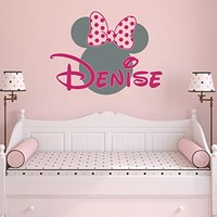 Name Wall Decal Minnie Mouse Head Ears Bow Disney Personalized Vinyl Decals Sticker Custom Decals Personalized Baby Girl Name Decor Bedroom Nursery Baby Room Decor ZX264