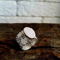 Lace Ring, Sterling Silver Lace Ring, Wide Band Ring, Statement Rings, Unique Rings, Romantic Jewelry, gemstone ring, quartz jewelry