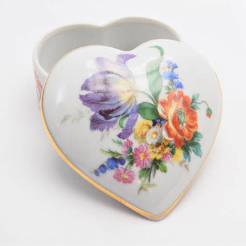 Elfinware Heart Porcelain Trinket Box, China Dish with Lid, Gold Trim, Bright Flowers and Foliage, Vintage Home