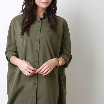 Collar Oversized Long Sleeves Button Up Top
