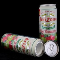 Arizona Kiwi Strawberry Diversion Safe Can Container+Free Pack of 1 1/4 Rasta Wrap